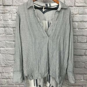 Free People Vertical Stripes Soft Flowy Tunic Sm